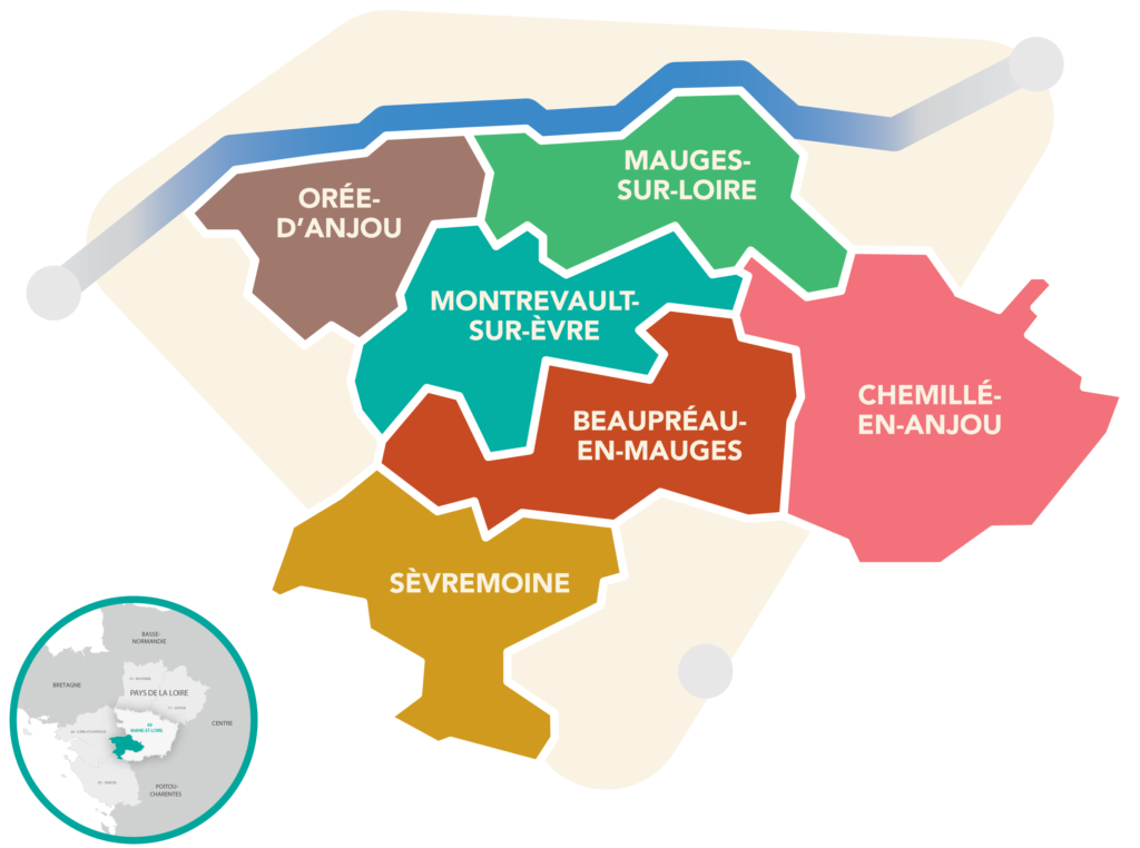 Territoire de Mauges Communauté et les communes Mauges-sur-Loire, Orée d'Anjou, Montrevault-sur-Evre, Beaupreau-en-Mauges, Chemillé-en-Anjou et Sèvremoine