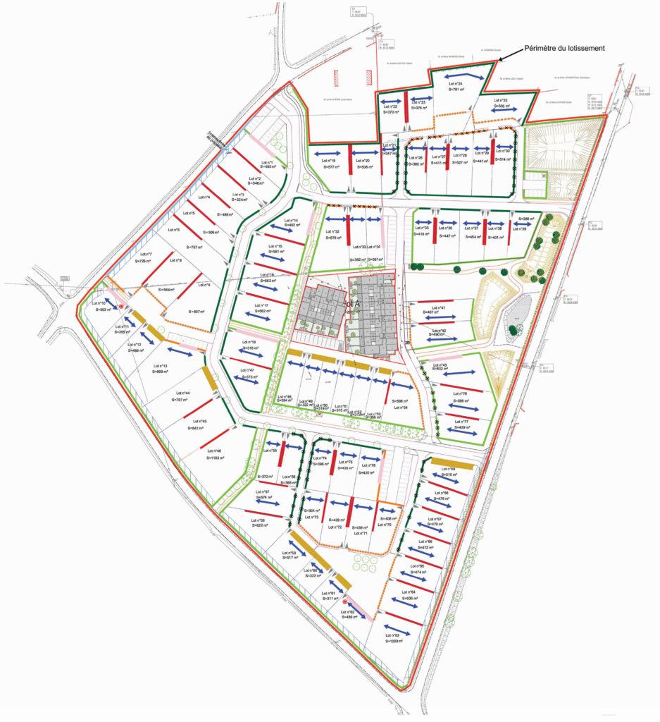 Plan du lotissement la Roche Blanche - La Pommeraye